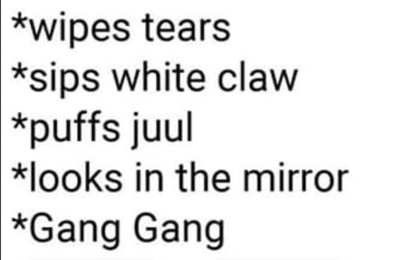 Text -   *wipes tears *sips white claw  *puffs juul *looks in the mirror   *Gang Gang