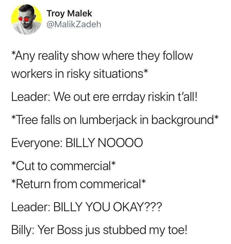 Text - Troy Malek @MalikZadeh *Any reality show where they follow workers in risky situations* Leader: We out ere errday riskin t'all! Tree falls on lumberjack in background* Everyone: BILLY NOOOO *Cut to commercial* *Return from commerical* Leader: BILLY YOU OKAY??? Billy: Yer Boss jus stubbed my toe!