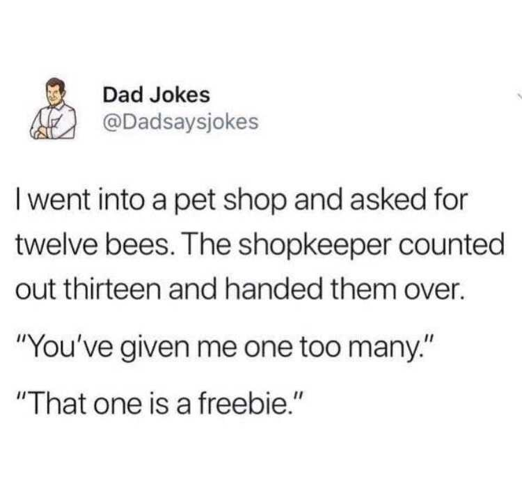 "Text - Dad Jokes @Dadsaysjokes I went into a pet shop and asked for twelve bees. The shopkeeper counted out thirteen and handed them over. ""You've given me one too many."" ""That one is a freebie."""
