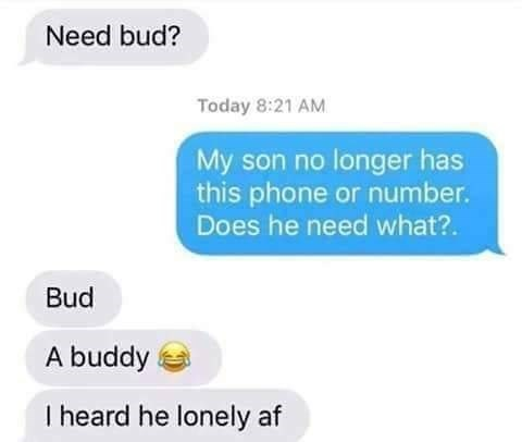 Text - Need bud? Today 8:21 AM My son no longer has this phone or number. Does he need what?. Bud A buddy I heard he lonely af