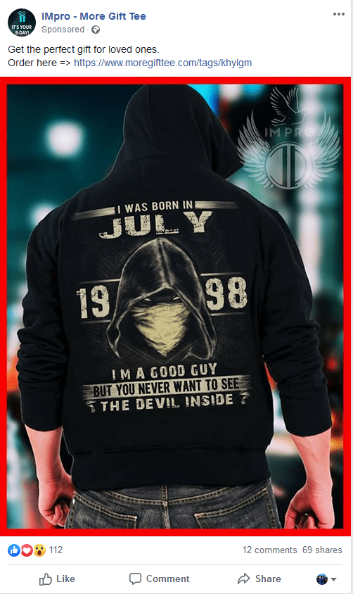 Clothing - IMpro More Gift Tee ITS YOUR 8-DAY Sponsored Get the perfect gift for loved ones. Order here >https://www.moregifttee.com/tags/khylgm M PRO I WAS BORN IN JULY 98 13 IMA GOOD GUY BUT YOU NEVER WANT TO SEE THE DEVIL INSIDE 112 12 comments 69 shares Like Comment Share