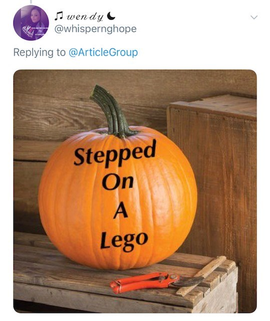Pumpkin - wen dy @whispernghope Replying to @ArticleGroup Stepped On Lego