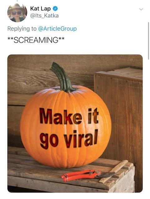 Pumpkin - Kat Lap @lts_Katka Replying to@ArticleGroup **SCREAMING** Make it go viral