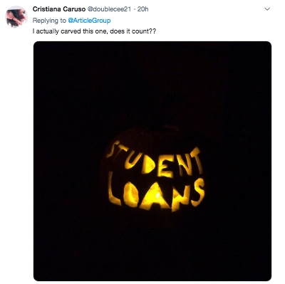 Text - Cristiana Caruso Gdoublecee21 20h Replying to ArticleGroup I actually carved this one, does it count?? DENT LOANS
