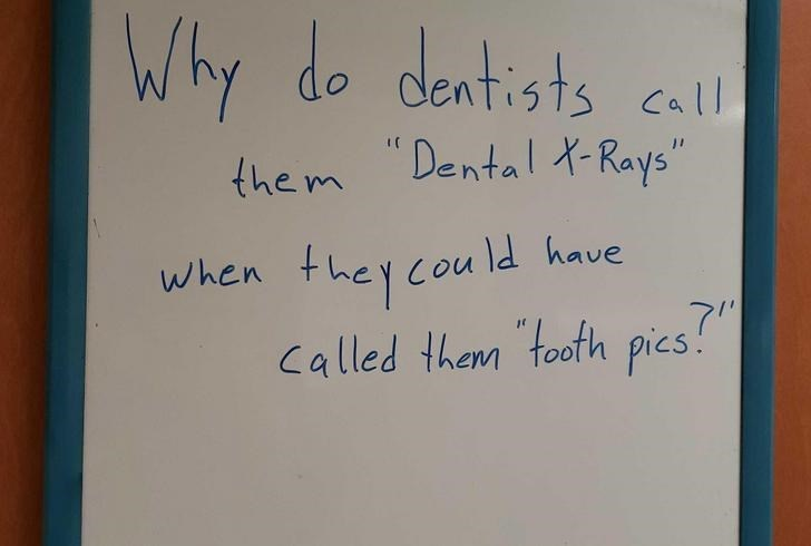 """Text - Why do dentists call Dental XRays"""" the m they cou ld have 7"""" Called them footh pics! When"""