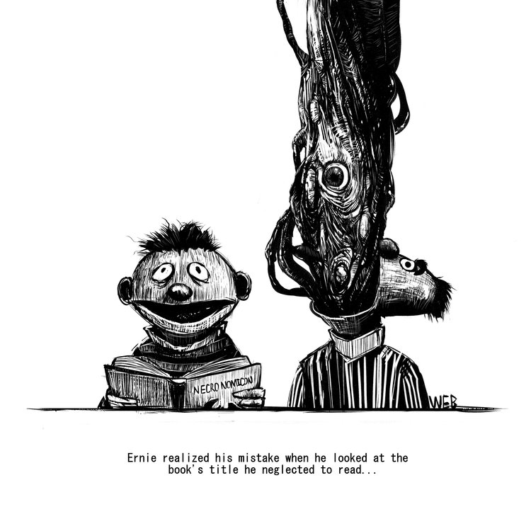 Cartoon - NECRONOMICON WER Ernie realized his mistake when he looked at the book's title he neglected to read...