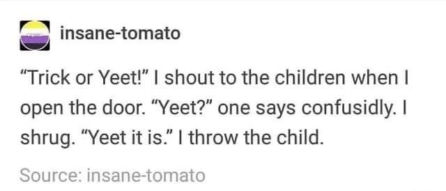 "Text - insane-tomato ""Trick or Yeet!"" I shout to the children when I open the door. ""Yeet?"" one says confusidly. I shrug. ""Yeet it is."" I throw the child Source: insane-tomato"