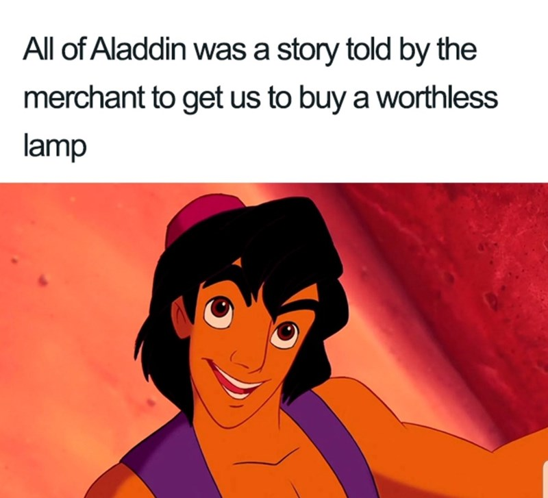 Animated cartoon - All of Aladdin was a story told by the merchant to get us to buy a worthless lamp