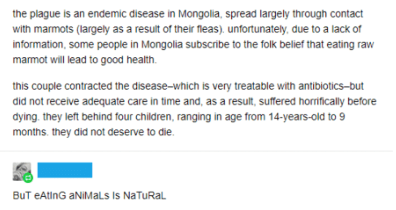 Text - the plague is an endemic disease in Mongolia, spread largely through contact with marmots (largely as a result of their fleas). unfortunately, due to a lack of information, some people in Mongolia subscribe to the folk belief that eating raw marmot will lead to good health this couple contracted the disease-which is very treatable with antibiotics-but did not receive adequate care in time and, as a result, suffered horrifically before dying. they left behind four children, ranging in age