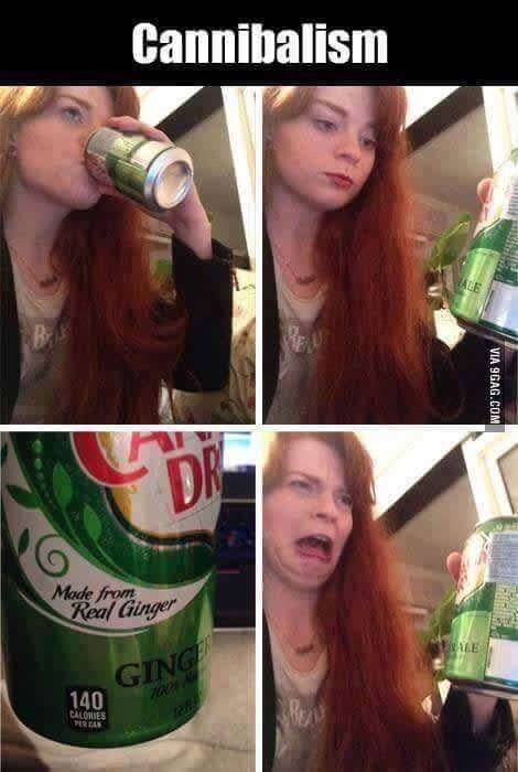 Hair - Cannibalism ALE BAK DR Made from Real Ginger ALE GINGE 140 CALONIES VIA 9GAG.COM