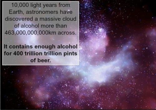Text - 10,000 light years from Earth, astronomers have discovered a massive cloud of alcohol more than 463,000,000,000km across. It contains enough alcohol for 400 trillion trillion pints of beer.