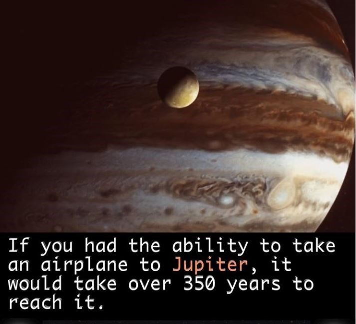 Sky - If you had the ability to take an airplane to Jupiter, it Would take over 350 years to reach it.