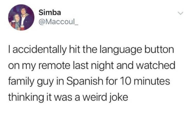 Text - Simba @Maccoul I accidentally hit the language button on my remote last night and watched family guy in Spanish for 10 minutes thinking it was a weird joke