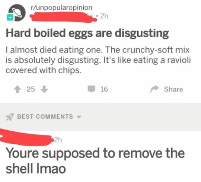 Text - r/unpopularopinin 2h Hard boiled eggs are disgusting I almost died eating one. The crunchy-soft mix is absolutely disgusting. It's like eating a ravioli covered with chips. 25 16 Share BEST COMMENTS 2h Youre supposed to remove the shell Imao