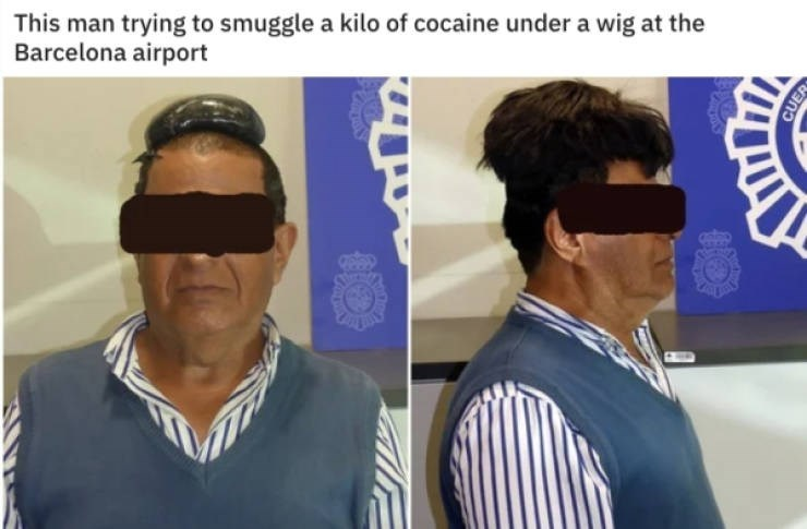 Hair - This man trying to smuggle a kilo of cocaine under a wig at the Barcelona airport CUER