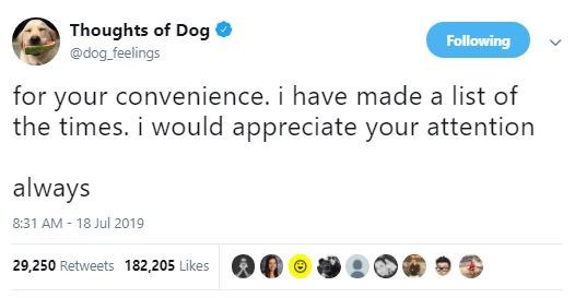 Text - Thoughts of Dog Following @dog feelings for your convenience. i have made a list of the times. i would appreciate your attention always 8:31 AM-18 Jul 2019 29,250 Retweets 182,205 Likes