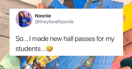 Teacher makes hall passes with ight imma head out spongebob meme.