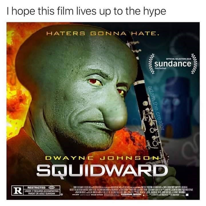 parody movie poster of Dwayne The Rock Johnson as Squidward in live action movie.