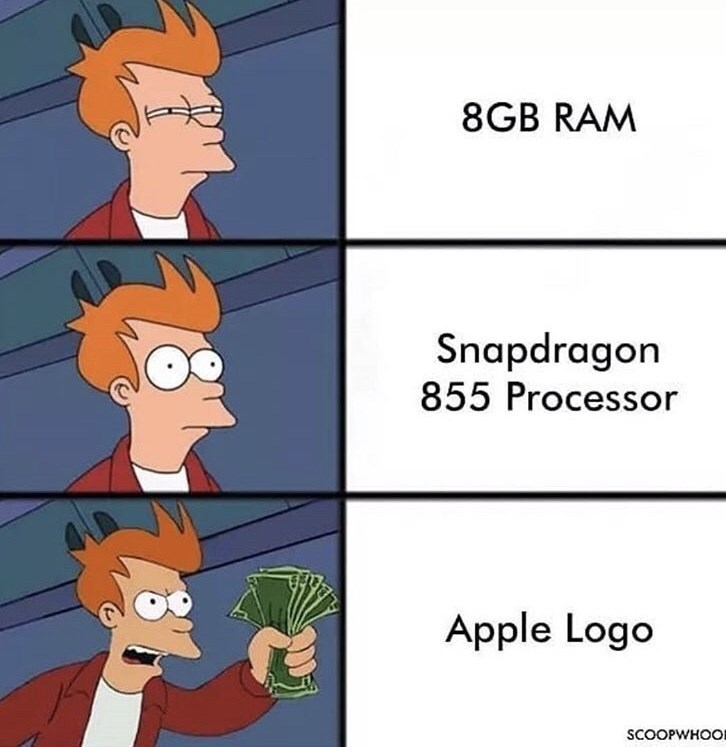 Cartoon - 8GB RAM Snapdragon 855 Processor Apple Logo SCOOPWHOO