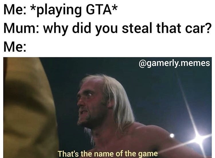 Text - Me: *playing GTA* Mum: why did you steal that car? Mе: @gamerly.memes That's the name of the game