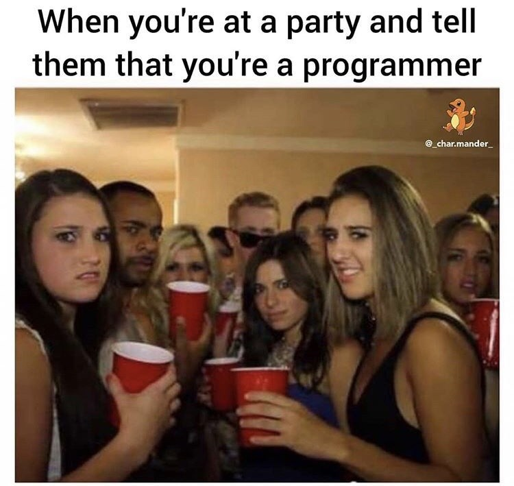 Selfie - When you're at a party and tell them that you're a programmer @char.mander