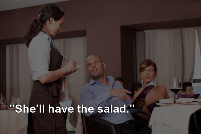 """Sitting - """"She'll have the salad."""""""