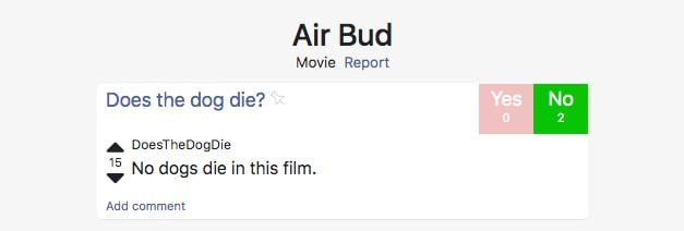 Text - Air Bud Movie Report Yes No Does the dog die? 0 2 DoesTheDogDie 15 No dogs die in this film. Add comment