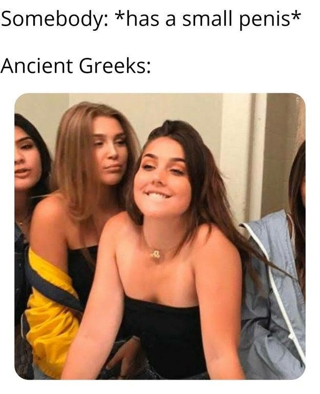 "Funny 'Girl Biting Lip' meme with caption that reads, ""Somebody: *has a small penis;* Ancient Greeks"""