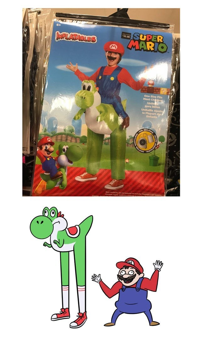 Animated cartoon - MFLATABLES T.SUPER MARIO One Size Fits Most Ch Unit para Niños Unitallie Ajust la Plupart dys Enfarnts FAM CLOIO NTELATE Stmhe, hat and bethest neued