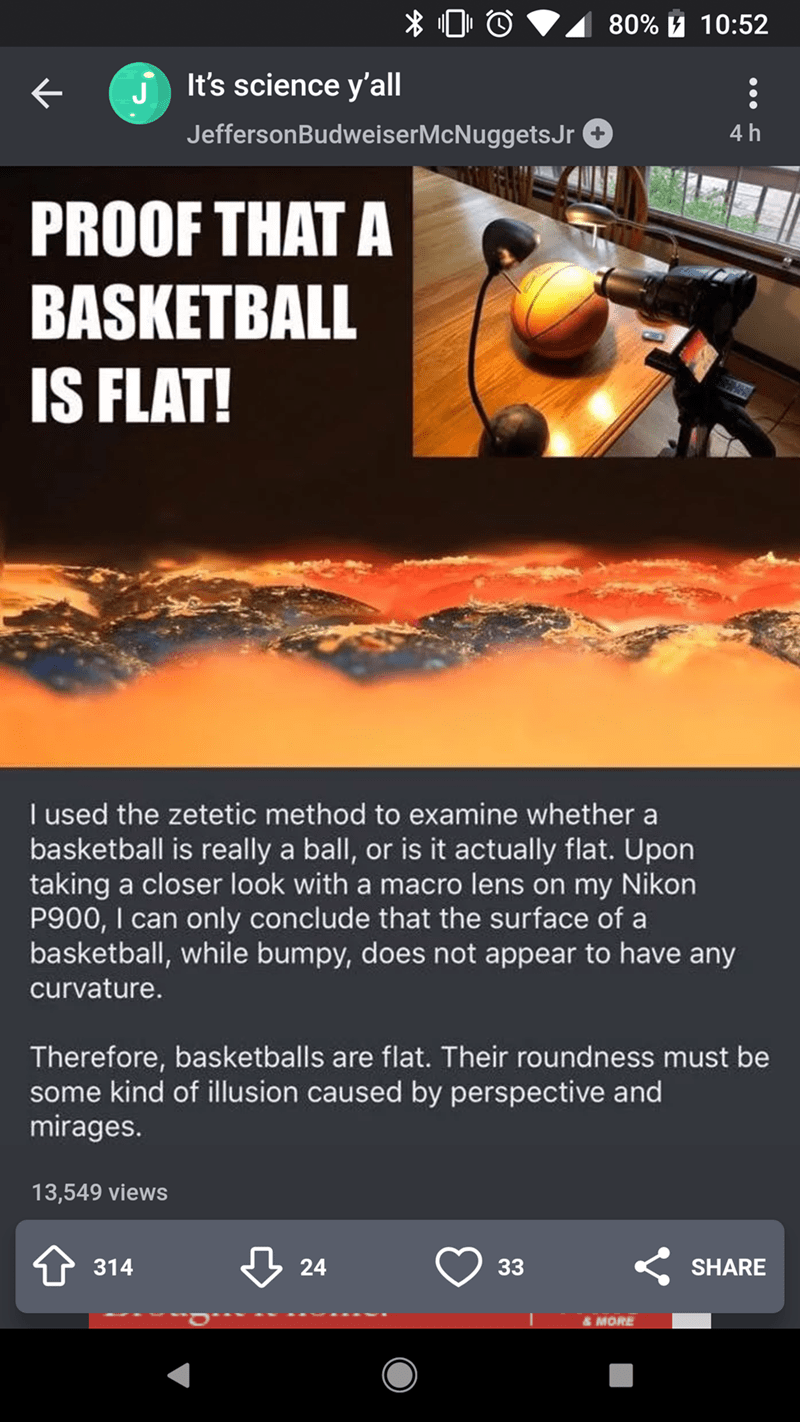 Funny Reddit post where someone tries to sarcastically prove that basketballs are flat