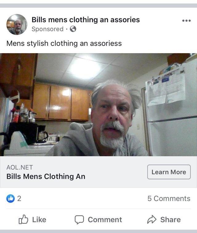 Text - Bills mens clothing an assories Sponsored Mens stylish clothing an assoriess AOL.NET Learn More Bills Mens Clothing An i 2 5 Comments Like Comment Share