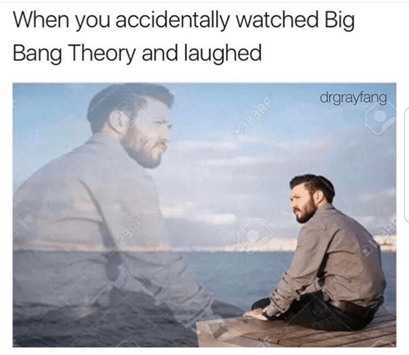 Text - When you accidentally watched Big Bang Theory and laughed drgrayfang 28EP