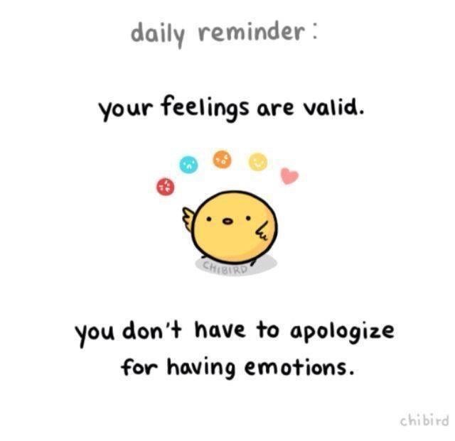 Text - daily reminder your feelings are valid. CH1BIKD you don't have to apologize for having em otions. chibird
