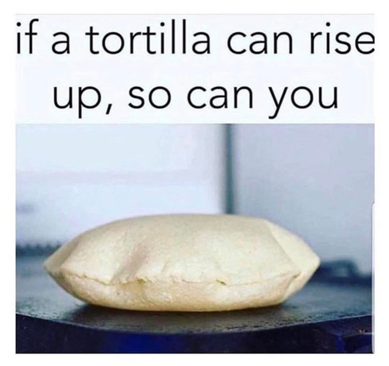 Dough - if a tortilla can rise up, so can you