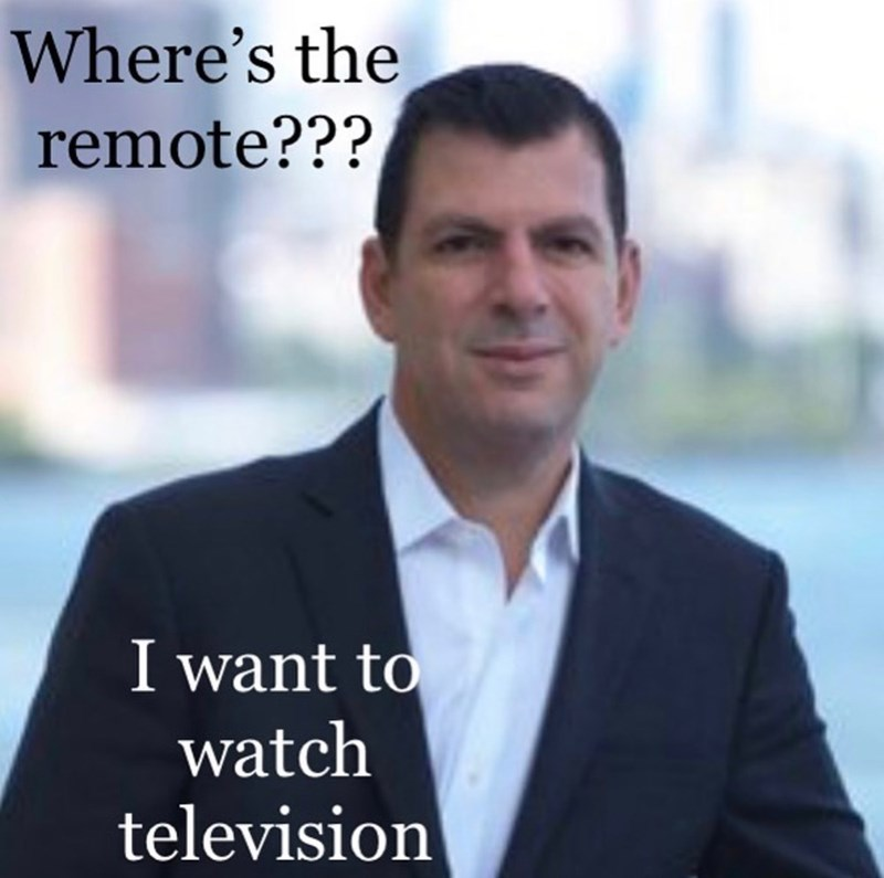 White-collar worker - Where's the remote??? I want to watch television