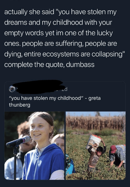 """Organism - actually she said """"you have stolen my dreams and my childhood with your empty words yet im one of the lucky ones.people are suffering, people are dying, entire ecosystems are collapsing"""" complete the quote, dumbass """"you have stolen my childhood"""" - greta thunberg"""