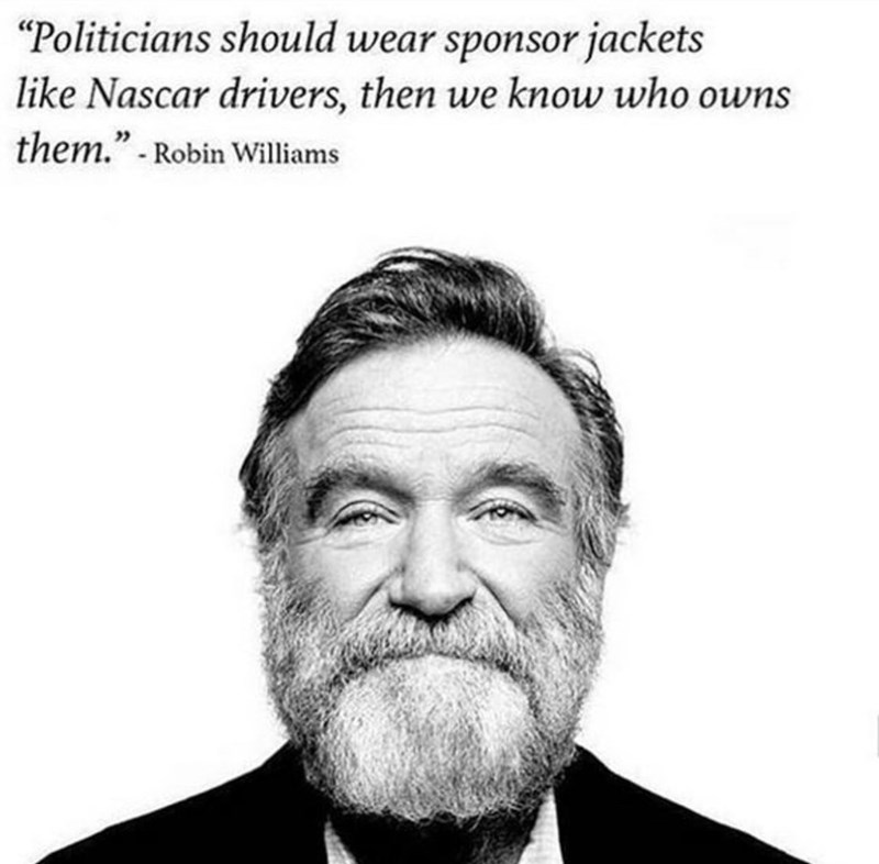 """Hair - """"Politicians should wear sponsor jackets like Nascar drivers, then we know who owns them."""" -Robin Williams"""