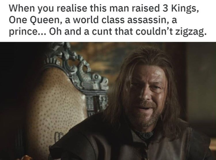 Text - When you realise this man raised 3 Kings, One Queen, a world class assassin, a prince... Oh and a cunt that couldn't zigzag.