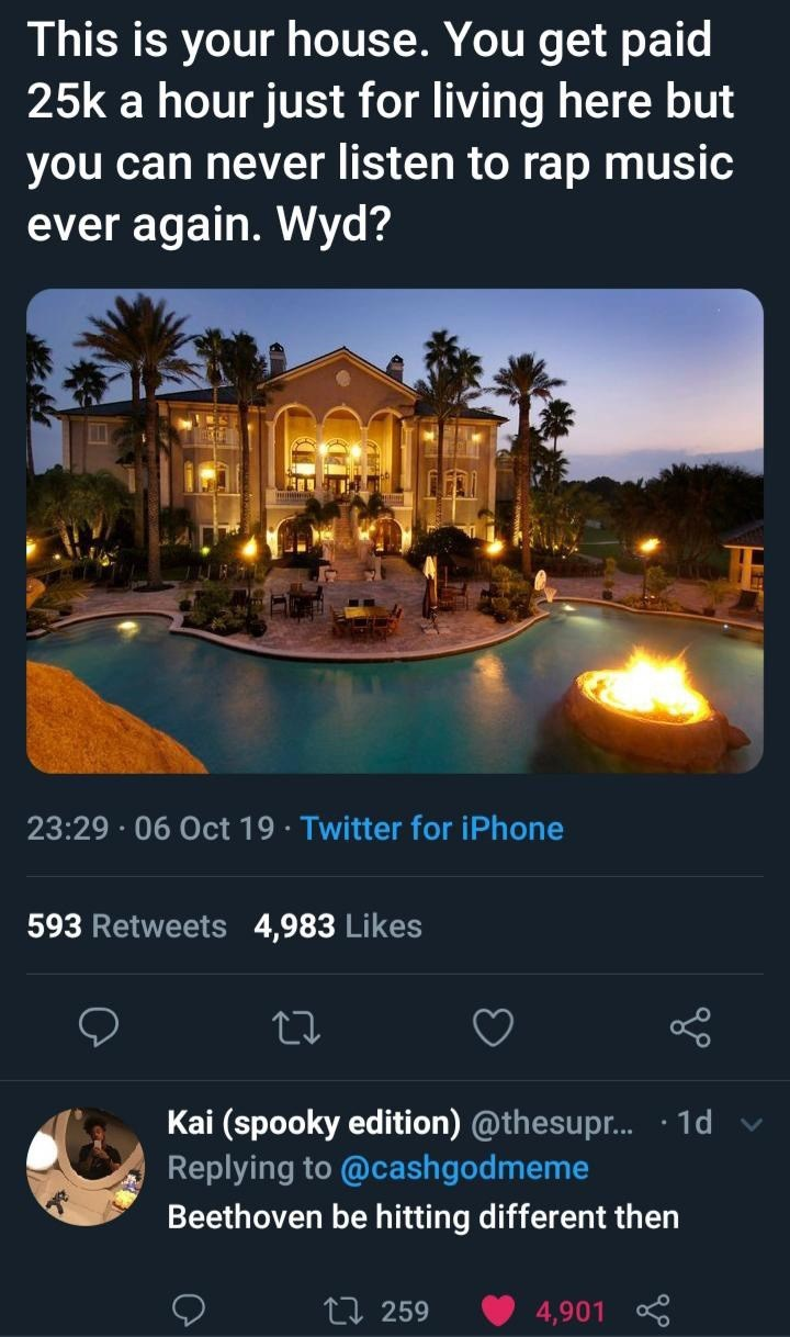 Lighting - This is your house. You get paid 25k a hour just for living here but you can never listen to rap music ever again. Wyd? 23:29 06 Oct 19 Twitter for iPhone 593 Retweets 4,983 Likes Kai (spooky edition) @thesupr... .1d Replying to @cashgodmeme Beethoven be hitting different then Li 259 4,901