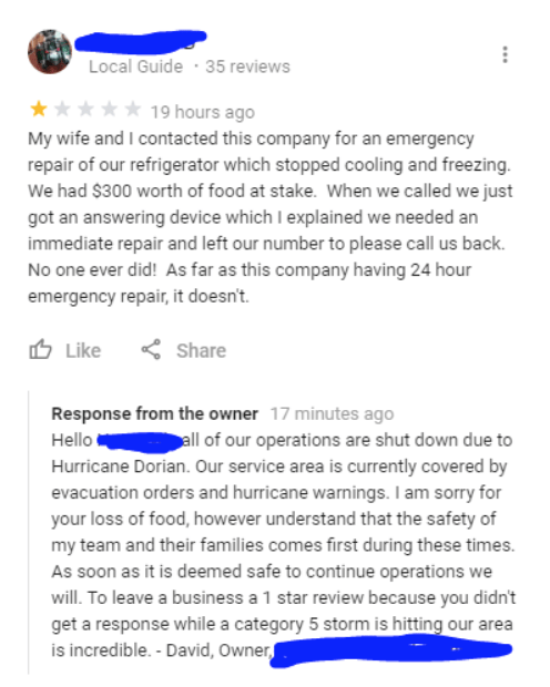 Text - Local Guide 35 reviews 19 hours ago My wife and I contacted this company for an emergency repair of our refrigerator which stopped cooling and freezing. We had $300 worth of food at stake. When we called we just got an answering device which I explained we needed an immediate repair and left our number to please call us back. No one ever did! As far as this company having 24 hour emergency repair, it doesn't. Like Share Response from the owner 17 minutes ago Hello all of our operations ar