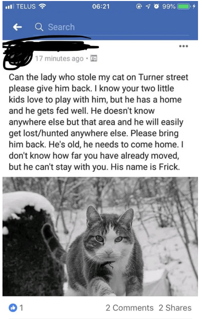 Text - . TELUS 6:21 99% Q Search 17 minutes ago Can the lady who stole my cat on Turner street please give him back. I know your two little kids love to play with him, but he has a home and he gets fed well. He doesn't know anywhere else but that area and he will easily get lost/hunted anywhere else. Please bring him back. He's old, he needs to come home. I don't know how far you have already moved, but he can't stay with you. His name is Frick. 1 2 Comments 2 Shares