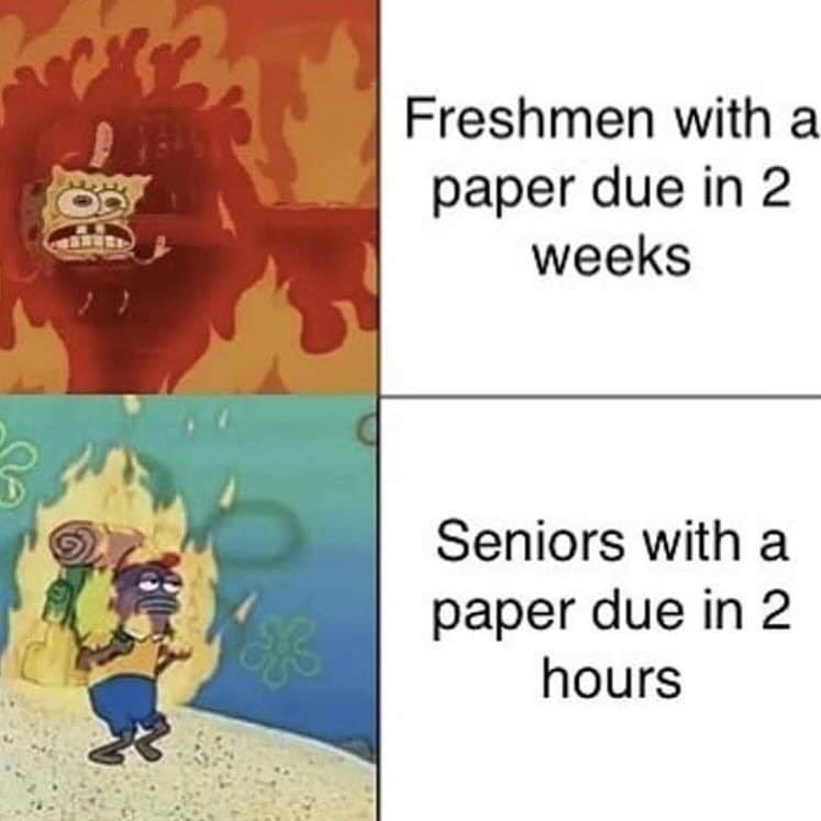 Cartoon - Freshmen with a paper due in 2 weeks Seniors with a paper due in 2 hours