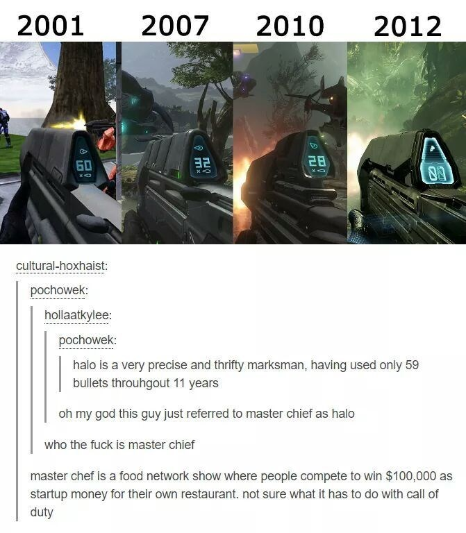 Font - 2001 2007 2010 2012 28 БО xO cultural-hoxhaist: pochowek: hollaatkylee: pochowek: halo is a very precise and thrifty marksman, having used only 59 bullets throuhgout 11 years oh my god this guy just referred to master chief as halo who the fuck is master chief master chef is a food network show where people compete to win $100,000 as startup money for their own restaurant. not sure what it has to do with call of duty