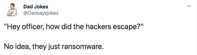 "Text - Dad Jokes @Dadsaysjokes ""Hey officer, how did the hackers escape?"" No idea, they just ransomware."