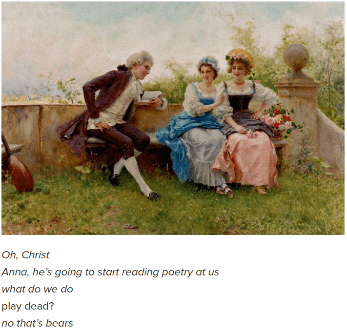 Photograph - Oh, Christ Anna, he's going to start reading poetry at us what do we do play dead? no that's bears