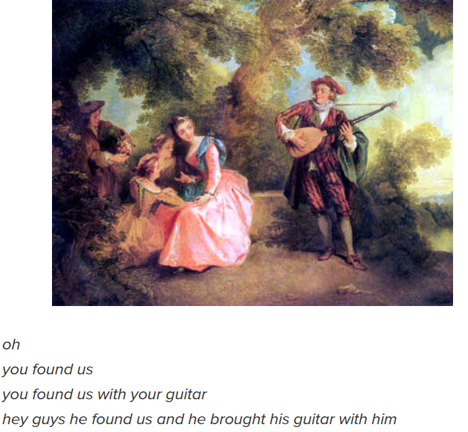 Painting - oh you found us you found us with your guitar hey guys he found us and he brought his guitar with him
