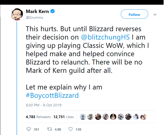 Text - Mark Kern Follow @Grummz This hurts. But until Blizzard reverses their decision on @blitzchungHS I am giving up playing Classic WoW, which helped make and helped convince Blizzard to relaunch. There will be no Mark of Kern guild after all. Let me explain why I am #BoycottBlizzard 6:00 PM - 8 Oct 2019 4,783 Retweets 12,731 Likes ti 4.8K 301 13K