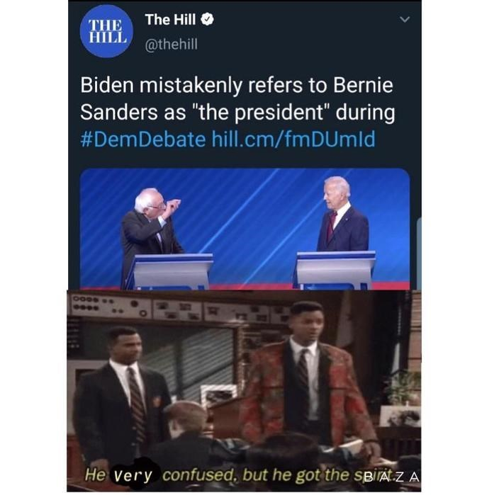 """Technology - The Hill THE HILL@thehill Biden mistakenly refers to Bernie Sanders as """"the president"""" during #DemDebate hill.cm/fm DUm Id He very confused, but he got the spiAt.z A"""