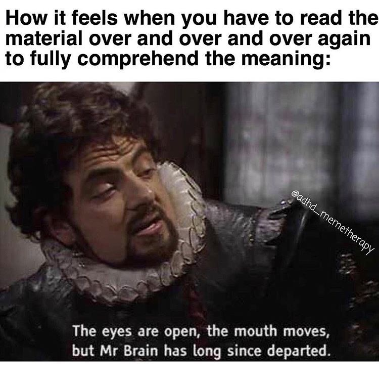 Text - How it feels when you have to read the material over and over and over again to fully comprehend the meaning: @adhdmemetherapy The eyes are open, the mouth moves, but Mr Brain has long since departed