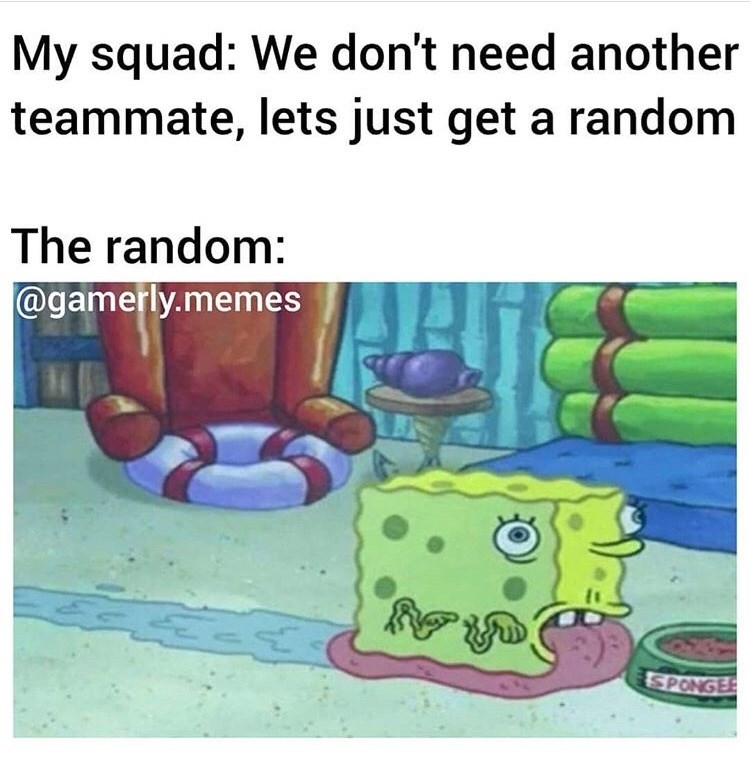 Text - My squad: We don't need another teammate, lets just get a random The random: @gamerly.memes SPONGE
